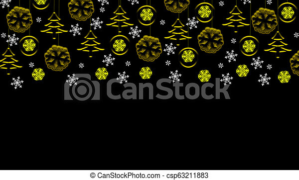 Black christmas background with golden hanging ornaments and snowflakes - csp63211883