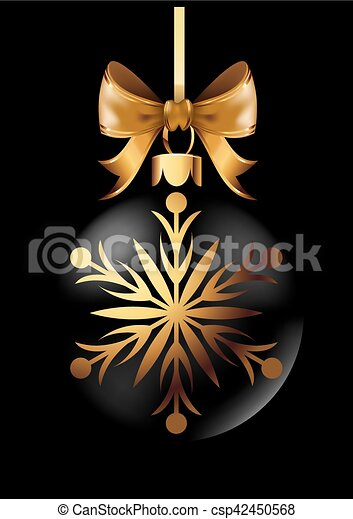 Black Christmas decoration ball with golden ribbon bow on black background. - csp42450568