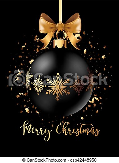 Black Christmas decoration ball with golden ribbon bow on black background. - csp42448950