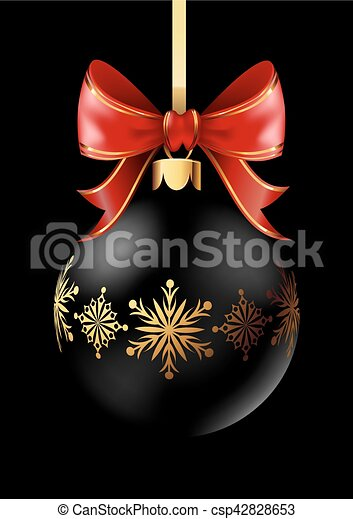 Black Christmas decoration ball with golden ribbon bow on black background. - csp42828653