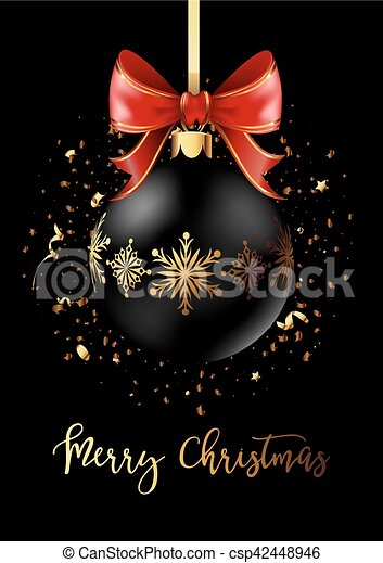 Black Christmas decoration ball with golden ribbon bow on black background. - csp42448946