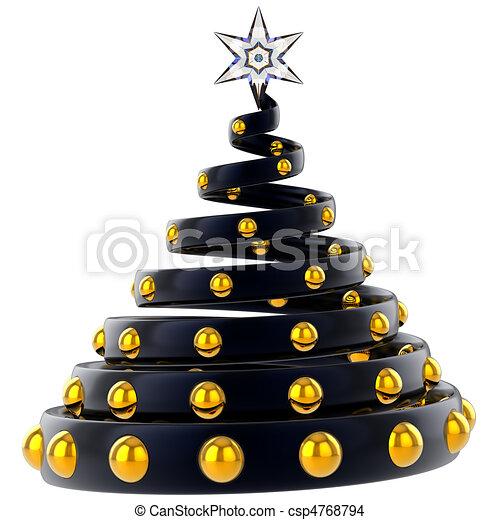 Modern Gold Christmas Trees Clip Art