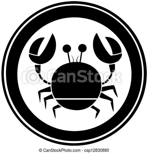 Black Circle Crab Logo - csp12830880