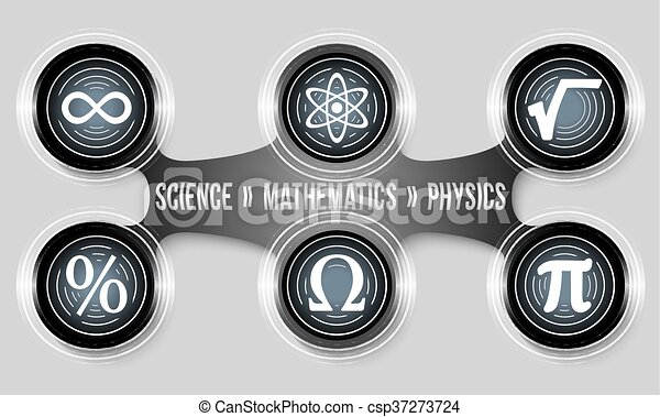 Black circular object and six physics icons - csp37273724