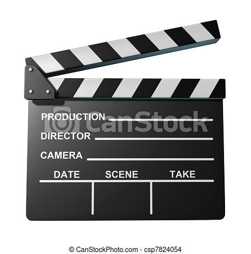 Black clap board movies symbol - csp7824054