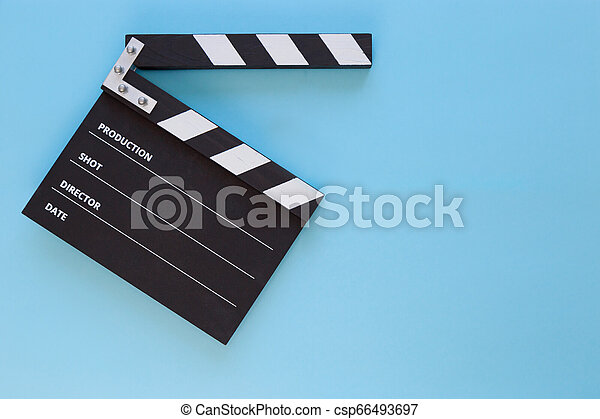 black clapperboard with free space for text isolated on color background - csp66493697
