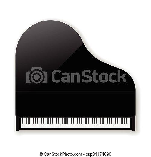 Black Classic Grand Piano Vector