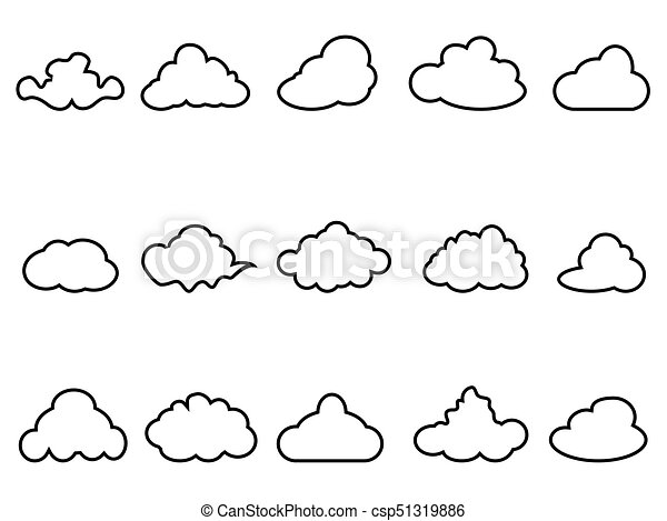 Isolated black cloud outline icons set from white background black cloud outline icons set csp51319886 voltagebd Choice Image