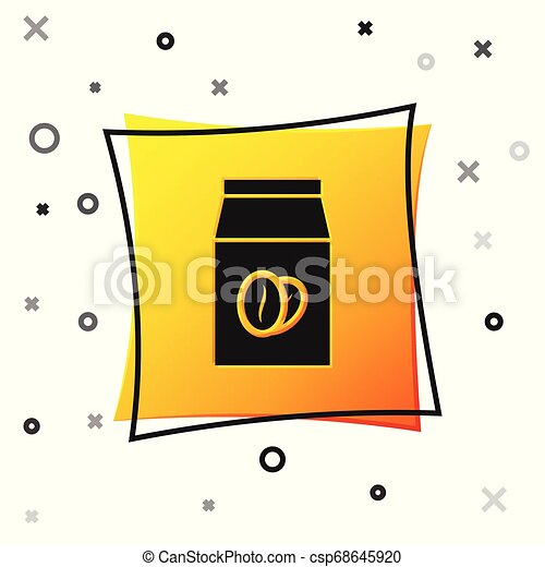 Black Coffee beans in bag icon isolated on white background. Yellow square button. Vector Illustration - csp68645920