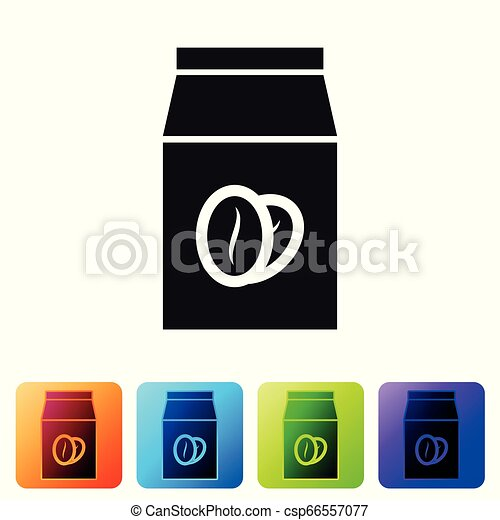 Black Coffee beans in bag icon isolated on white background. Set icon in color square buttons. Vector Illustration - csp66557077