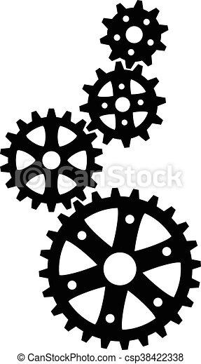 black cogs (gears) - csp38422338