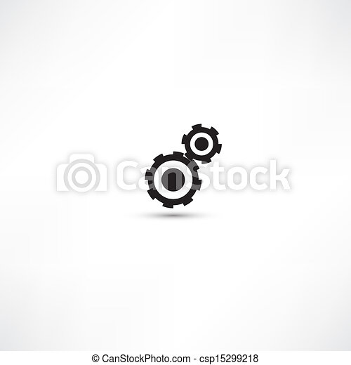 black cogs (gears) on light background - csp15299218