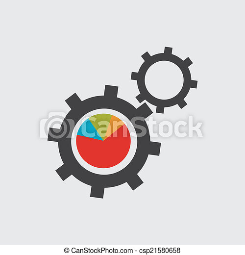 black cogs (gears) on white background - csp21580658