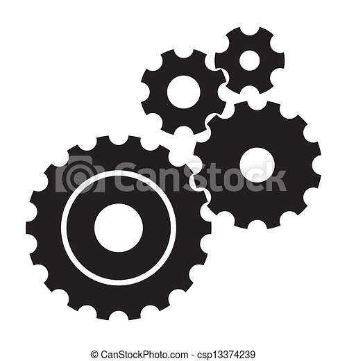 Black cogs (gears) on white background.