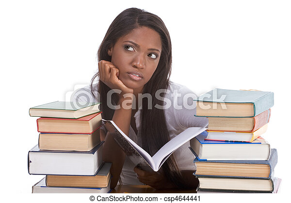 Black college student woman by stack of books - csp4644441