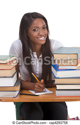 Black college student woman by stack of books - csp4293758