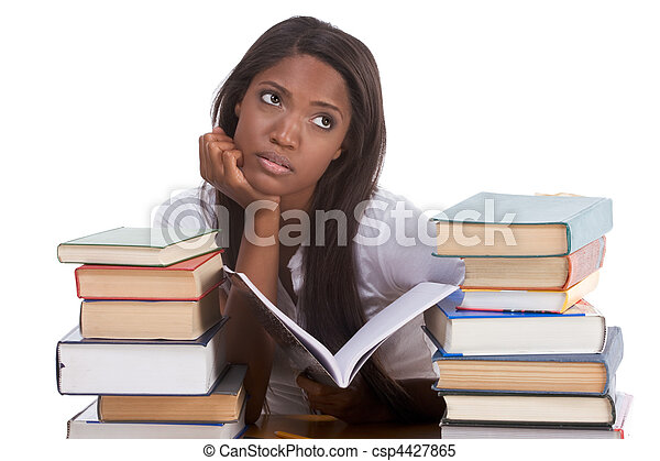 Black college student woman by stack of books - csp4427865