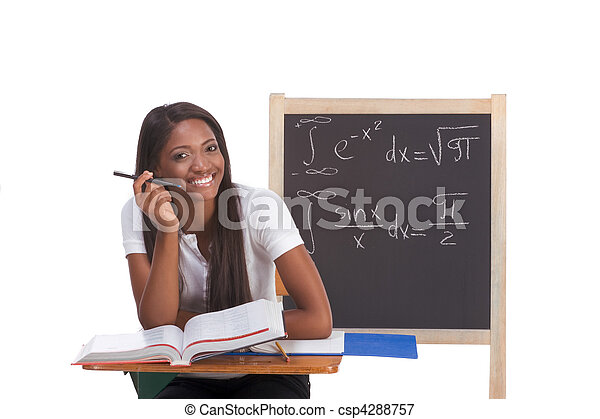Black college student woman studying math exam - csp4288757