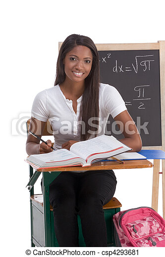 Black college student woman studying math exam - csp4293681