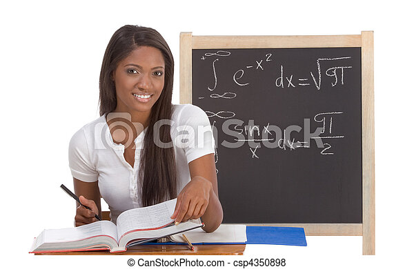 Black college student woman studying math exam - csp4350898