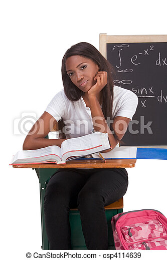 Black college student woman studying math exam - csp4114639