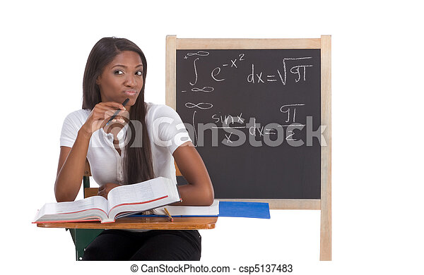 Black college student woman studying math exam - csp5137483