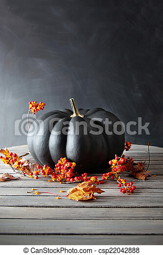 Black colored pumpkin with berries and leaves on table - csp22042888