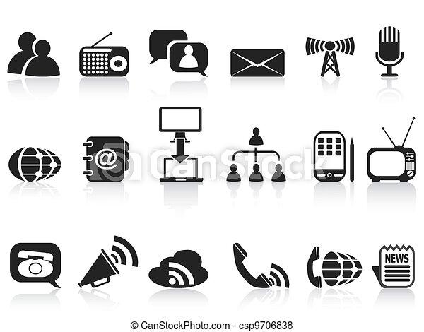 black communication icons set - csp9706838