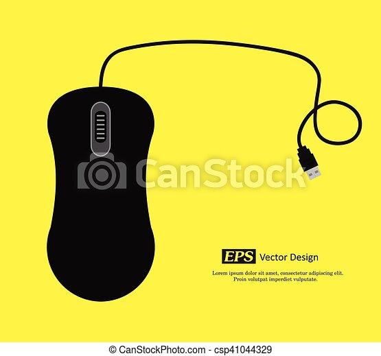 Black Computer Mouse Vector - csp41044329