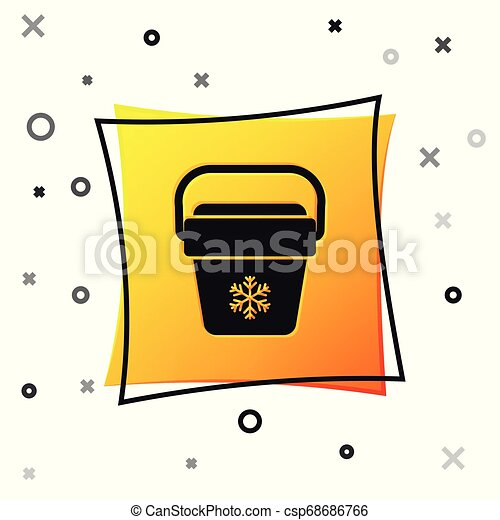 Black Cooler bag icon isolated on white background. Portable freezer bag. Handheld refrigerator. Yellow square button. Vector Illustration - csp68686766
