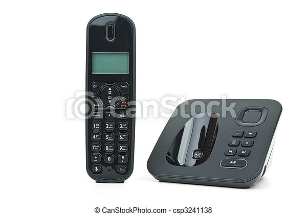 Black cordless phone handset and base unit - csp3241138