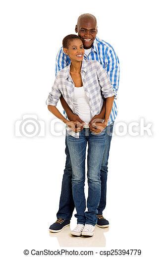 black couple full length portrait - csp25394779