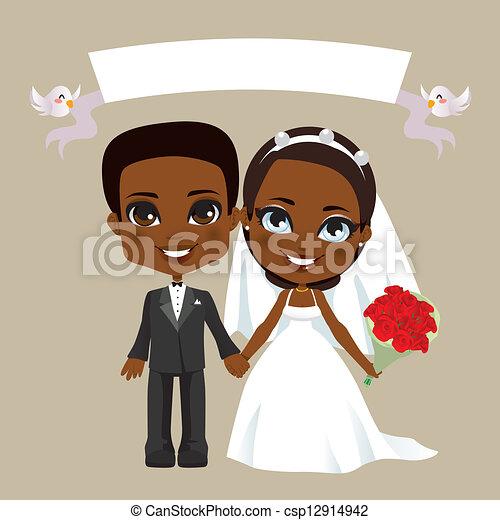 Black Couple Wedding - csp12914942