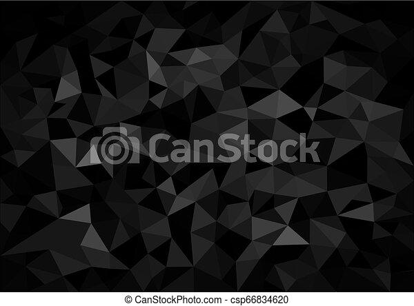 Black Crystalline Polygonal Background - csp66834620