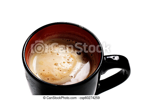 Black cup of coffee with foam on a white background - csp60274259