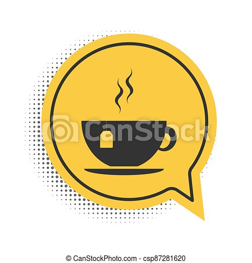 Black Cup with tea bag icon isolated on white background. Yellow speech bubble symbol. Vector - csp87281620