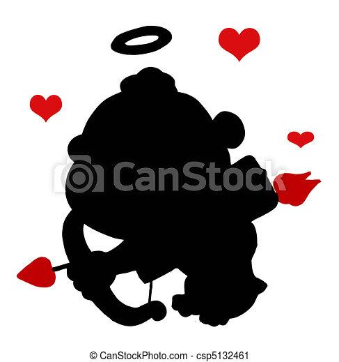 Black Cupid Silhouette  - csp5132461