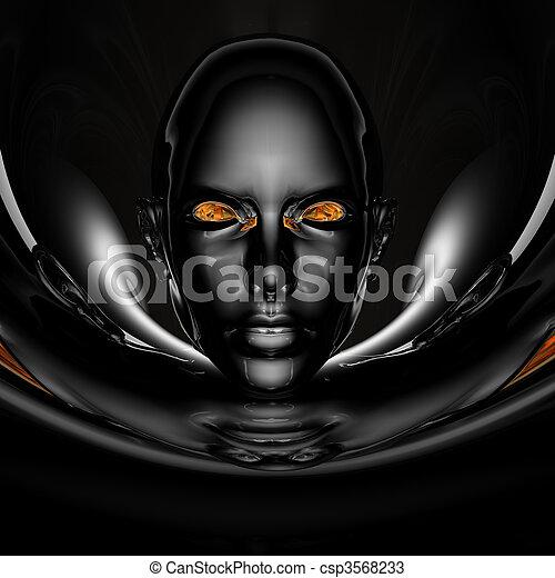 black cyber girl portrait - csp3568233