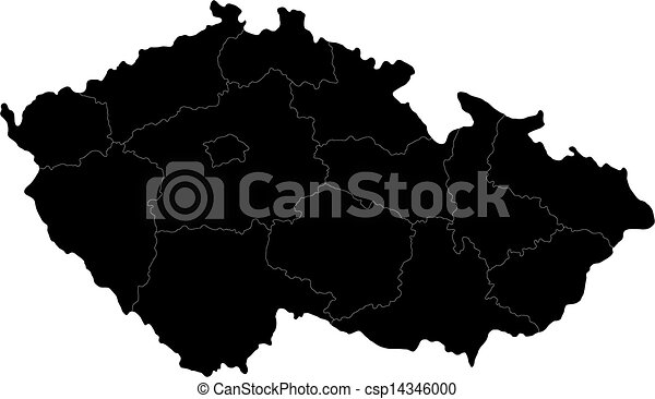 Black Czech Republic map - csp14346000