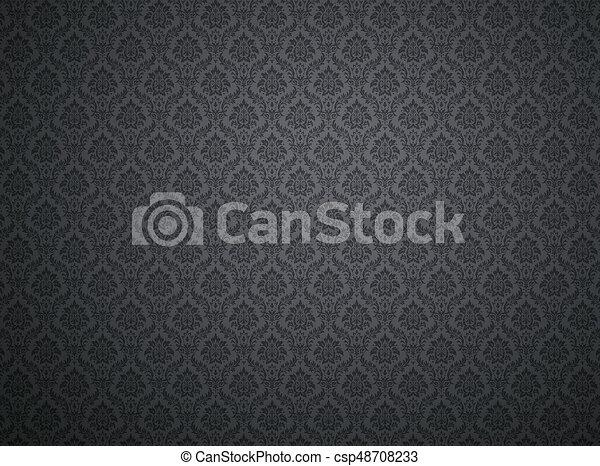 Black Damask Pattern Background