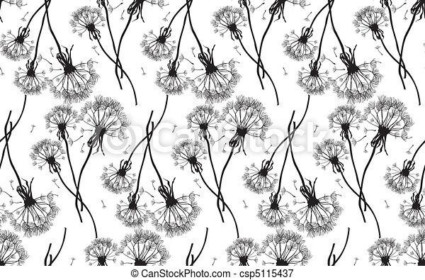 Black dandelions seamless vector  - csp5115437