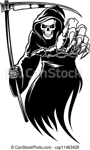 Black death monster with scythe - csp11463426