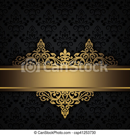 Black Decorative Background With Gold Border Black And