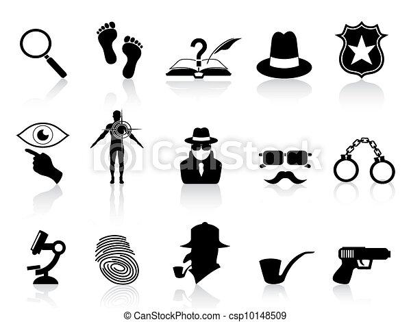 black detective icons set - csp10148509
