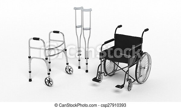 Black disability wheelchair, crutch and metallic walker isolated on white  - csp27910393