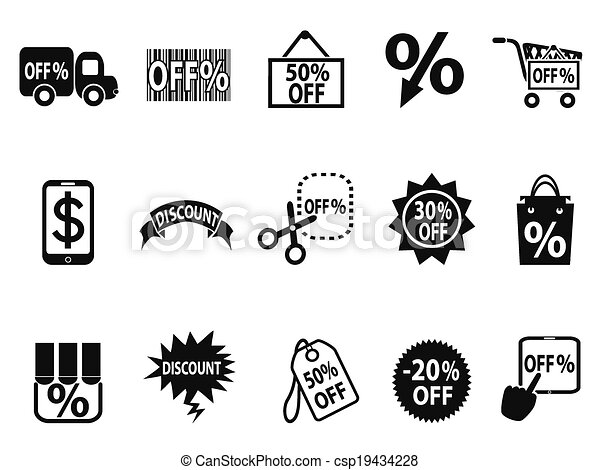 black discount icons set - csp19434228