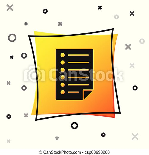 Black Document icon isolated on white background. File icon. Checklist icon. Business concept. Yellow square button. Vector Illustration - csp68638268