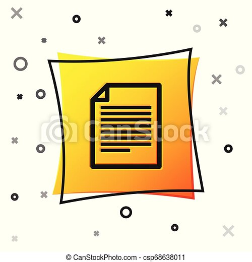 Black Document icon isolated on white background. File icon. Checklist icon. Business concept. Yellow square button. Vector Illustration - csp68638011