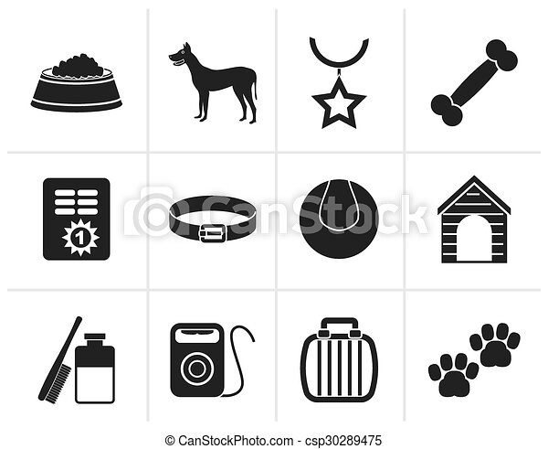 Black dog accessory icons - csp30289475