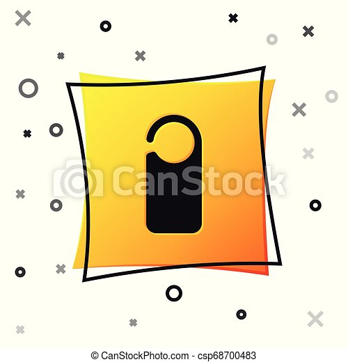 Black Door hanger tags for room in hotel or resort icon isolated on white background. Please do not disturb sign. Yellow square button. Vector Illustration - csp68700483